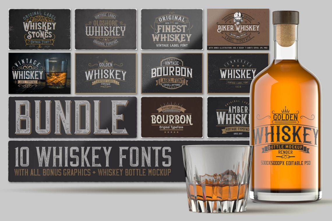 Download Glass Bottle Whiskey Mockup Yellowimages