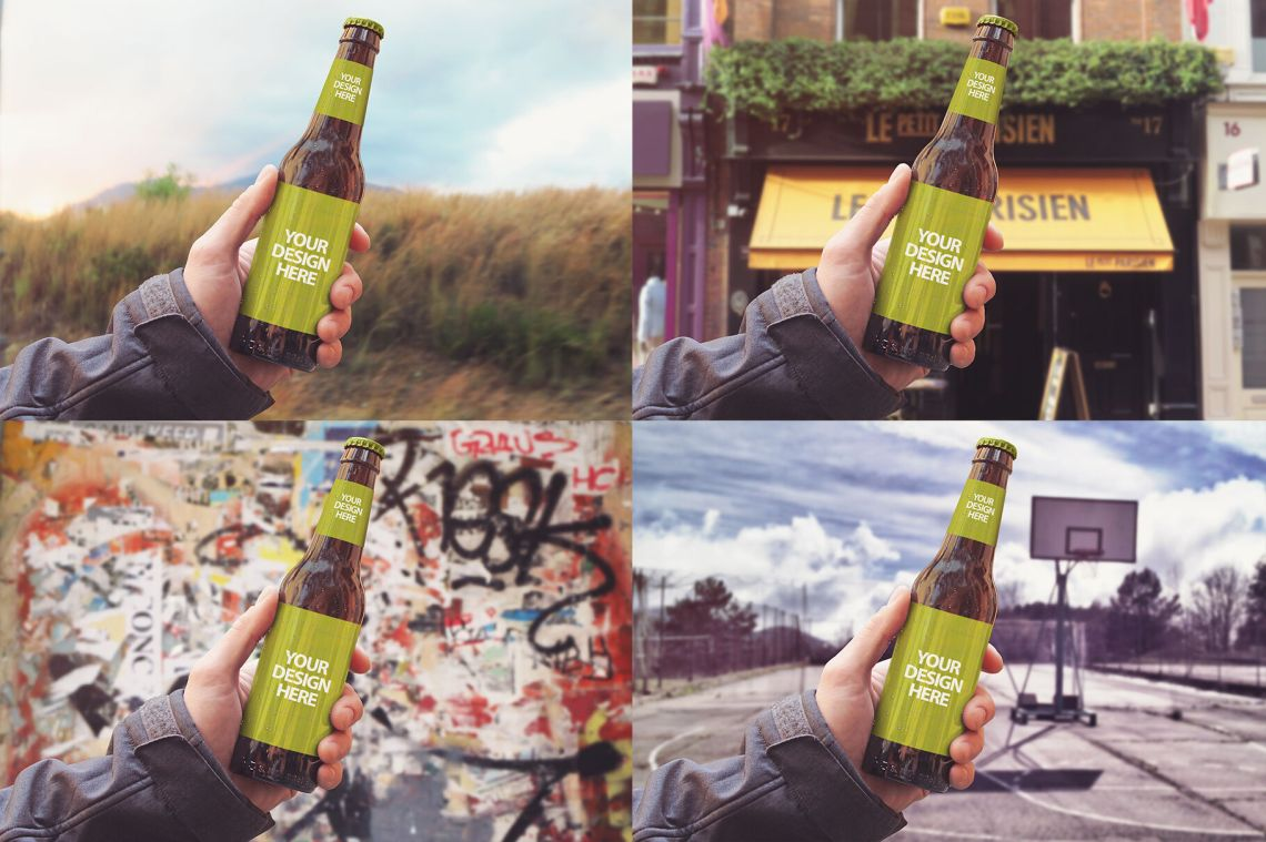 Download Clear Glass Lager Beer Bottle Mockup Yellowimages