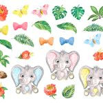 Watercolor Clipart Elephant Cute Baby Elephant With Plants And Flower By Evgeniia Grebneva Painting Thehungryjpeg Com