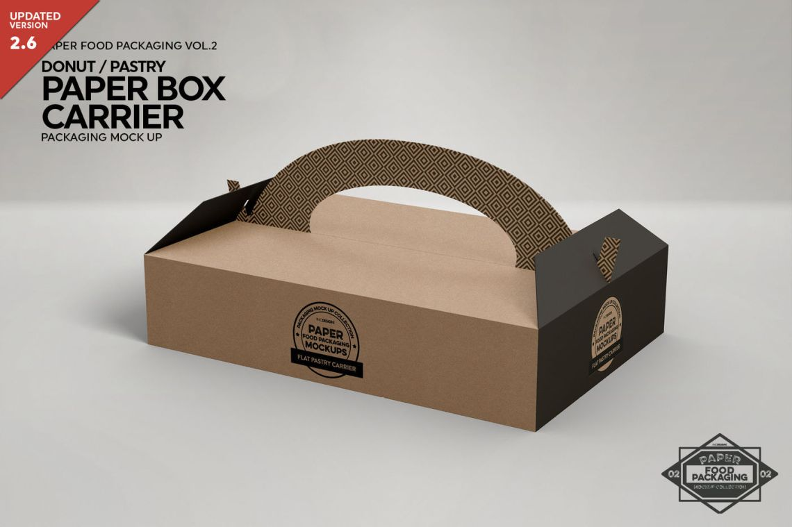 Download Pastry/Donut Box Carrier Packaging Mockup By INC Design ...