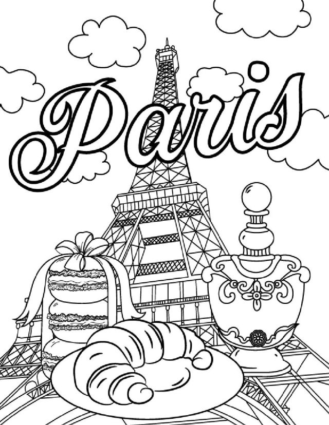 Paris, Eiffel Tower Coloring Page, Coloring Sheet By