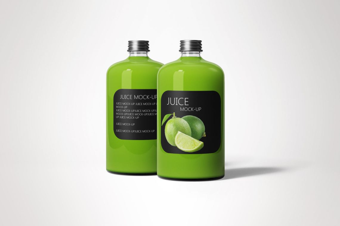 Download Plastic Bottle With Green Smoothie Mockup Yellowimages