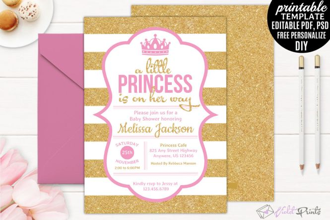 Gold And Pink Little Princess Baby Shower Invitation