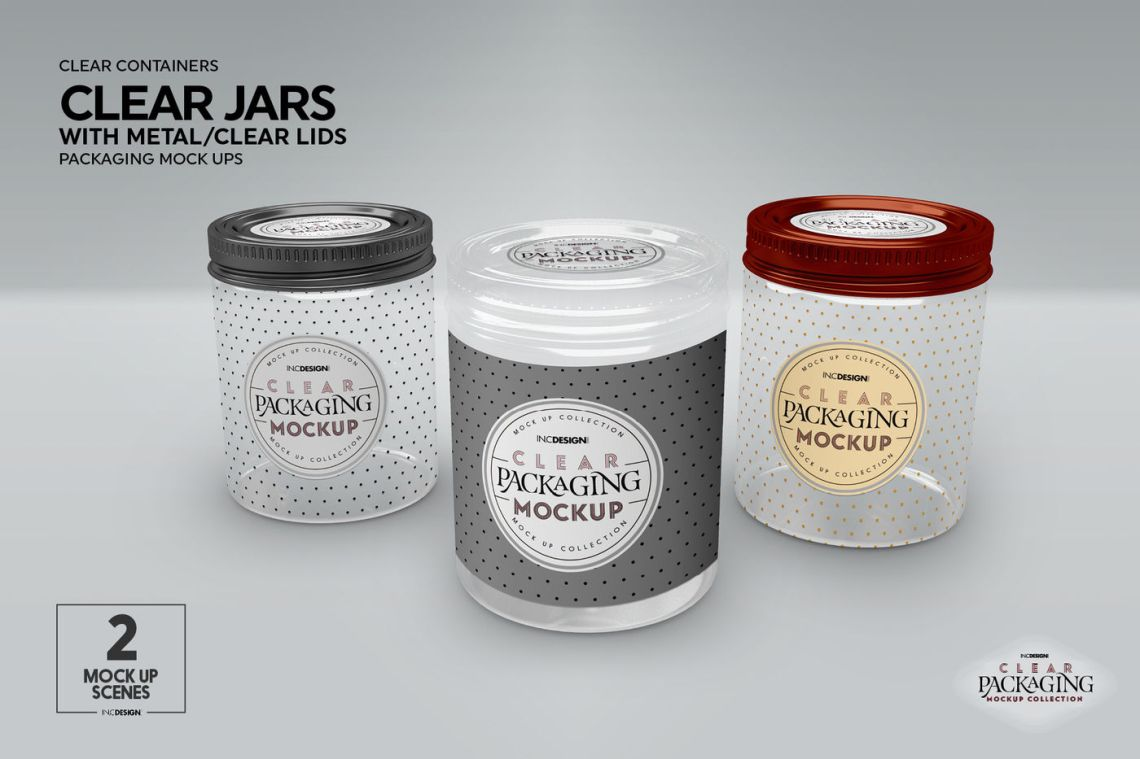 Download Clear Glass Cosmetic Jar With Metallic Cap Mockup Front View Yellowimages