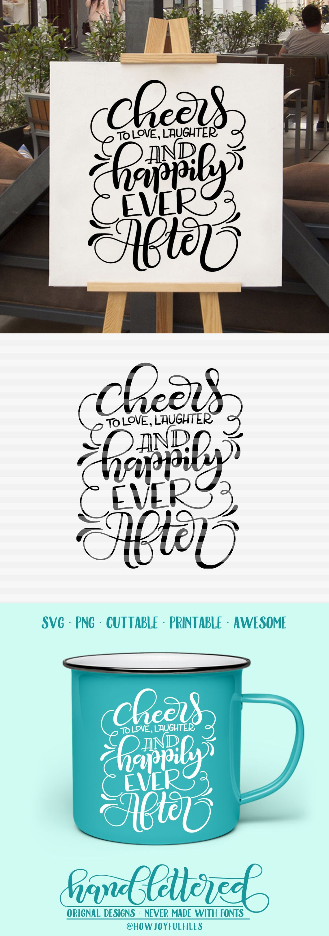 Download Cheers to love, laughter and happily ever after - SVG ...