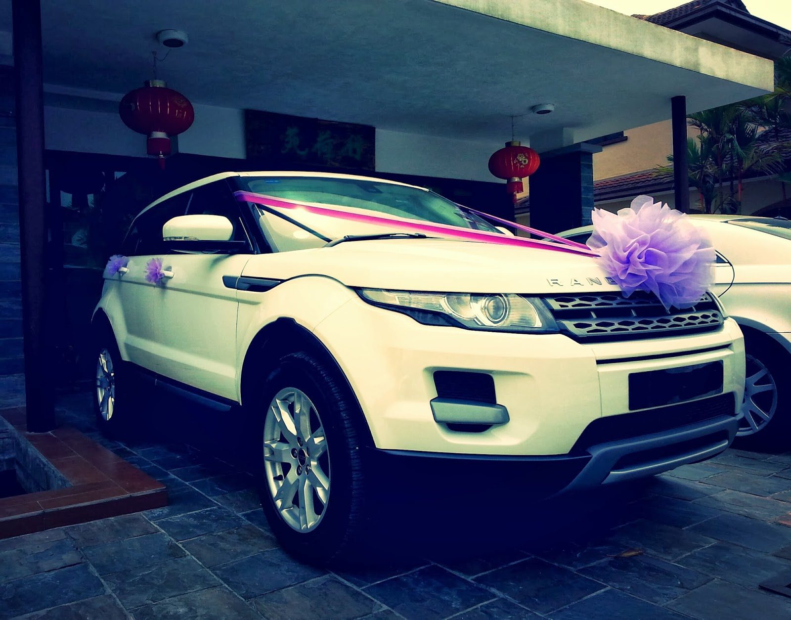 Range Rover Evoque Purple Decorations Bridal Car Car
