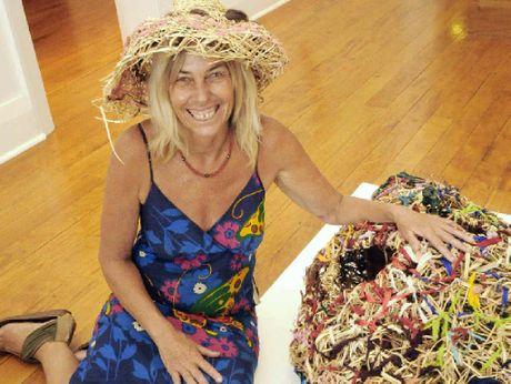NAMASTE: Basket artist Mirra-Winni Gaze presents her art at the community gallery.