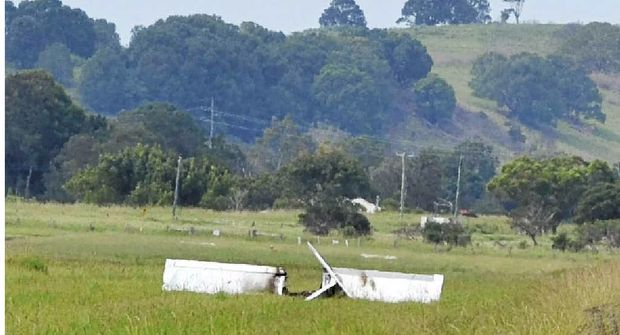 CRASH SCENE: The wreckage of an Ultralight RV12 plane that crashed yesterday morning at the Lismore Airport.