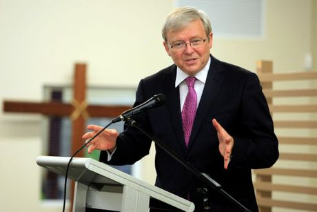 Kevin Rudd is visiting Banora point. Launching Michael Armstrong and Reece Byrnes. Photo: John Gass / Daily News