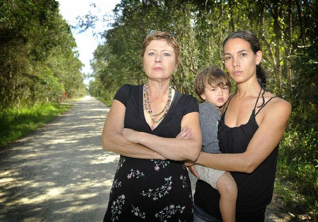 NOT AGAIN: Fiona Hunter and Wandy Hochgrebe (above) of Melaleuca Dr say they will blockade their road if they have to.