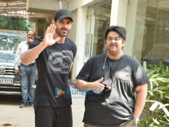 Photos: John Abraham and Milap Zaveri snapped at a dubbing studio in Juhu | Parties & Events Moviesflix