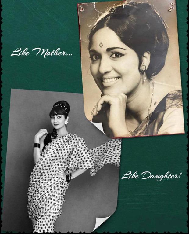 Shilpa Shetty recreates her mother Sunanda Shetty's retro look in polka dot organza black and white sareer worth Rs. 21,900