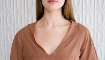 A V-neck top from Frei Designs, available on Workshop's new website