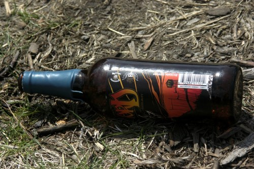 An empty bottle of 2014 Dark Lord on the festival grounds. This is what you might call status litter.