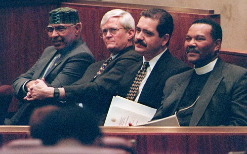 At a 1997 tribute to Harold Washington on the tenth anniversary of his death: from left, the late mayors half brother,  Ramon Price; his former press secretary, Alton Miller; Jesus Garcia, then a state senator; and Reverend B. Herbert Martin, Washingtons pastor.