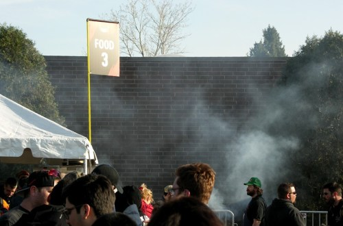 Fortunately the wind carried the grill smoke the other way. Smelling it wouldve made the long line feel even longer.