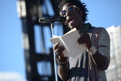 @imleor: Saul Williams: Im out here without music today, forgive me. [Small groups of people walk away.] #RiotFest