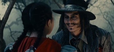 Lilla Crawford and Johnny Depp as Little Red Riding Hood and the Wolf