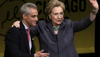 Mayor Emanuel last Wednesday with Hillary Clinton, who was in town promoting her new book.