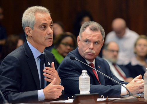 Mayor Rahm Emanuel, accompanied by police Superintendent Garry McCarthy, discusses his crime-fighting strategies with state legislators in September.