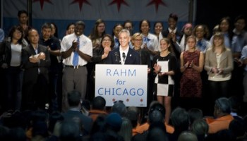 Mayor Rahm Emanuel surrounded himself with a rainbow coalition of children to announce his reelection bid.