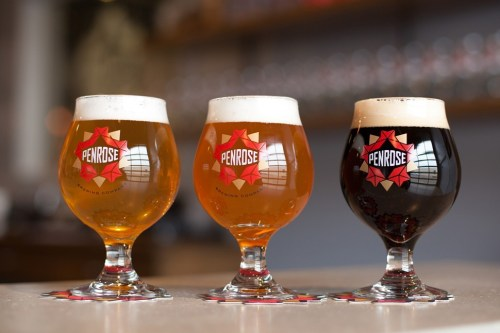 Penrose Brewings first three year-round beers: Proto Gradus, P-2, and Navette