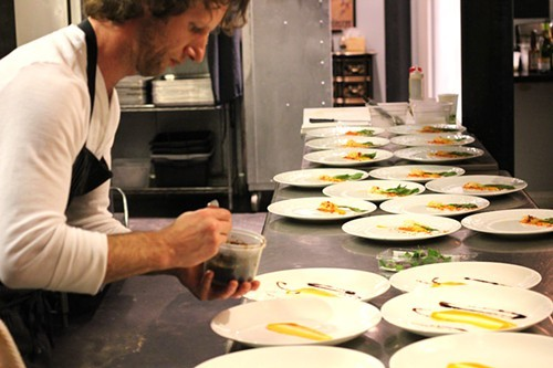 Phillip Foss, in another hair phase, plating at EL Ideas