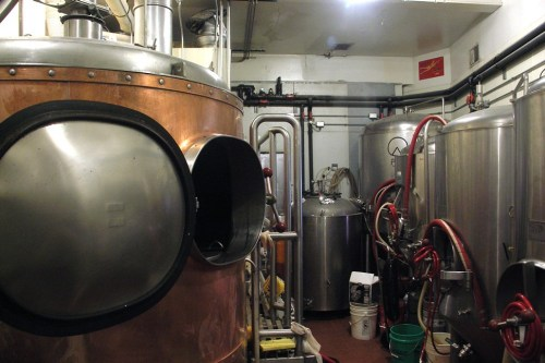 Thats part of Pieces seven-barrel brewhouse in the left foreground.