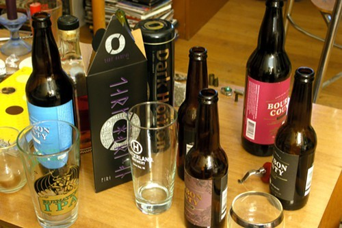 The aftermath. Because we are not insane, we didnt attempt to drink those Nogne O Dark Horizon stouts too.