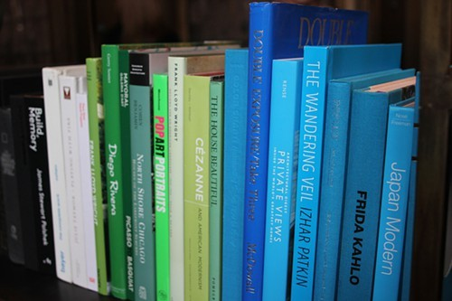 The color-coordinated library at Soho House