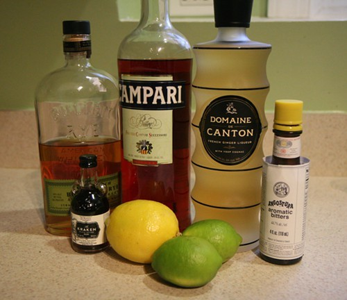 The makings for four different cocktails