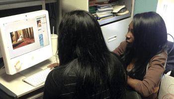 TransTech CEO Angelica Ross works with an apprentice.