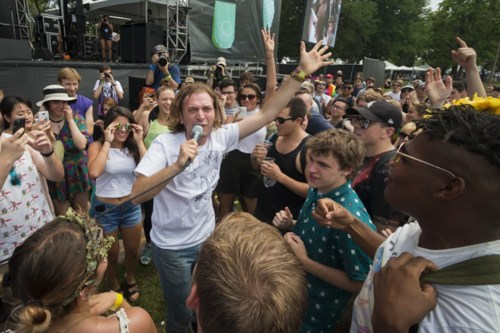 Jimmy Whispers isnt any more likely to stay on the stage at Pitchfork than he is anywhere else.