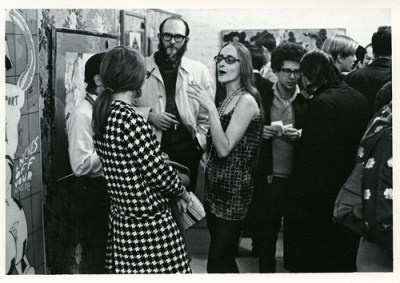 Visitors at the opening reception for Hairy Who exhibition, 1969, Hyde Park Art Center.