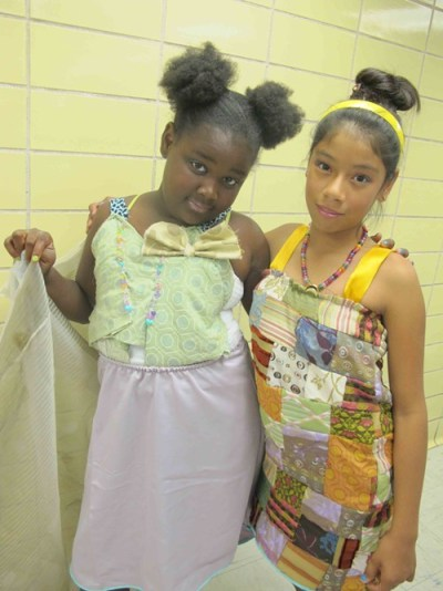 Social butterfly Ariyah and Cecilia, who made all this intricate patchwork herself.