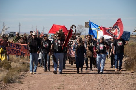 As assortment of indigenous and non-indigenous allies—including the Society of Native Nations—marched on ETP's Trans-Pecos Pipeline outside Marfa in November.