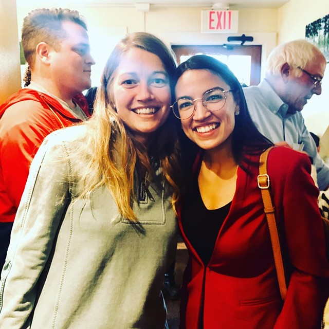 Molly Gray and U.S. Rep. Alexandria Ocasio-Cortez on Saturday morning at Penny Cluse Café in Burlington. - COURTESY OF MOLLY GRAY