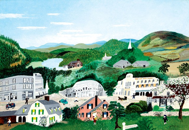 """Bennington, 1945"" by Anna Mary Robertson ""Grandma"" Moses. - COURTESY OF SHELBURNE MUSEUM/BENNINGTON MUSEUM"
