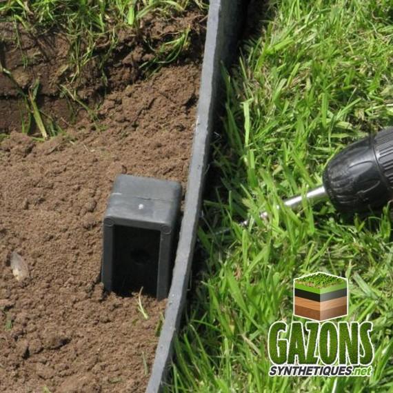 kit bordure de jardin pvc gris rouleau 10m piquets vis