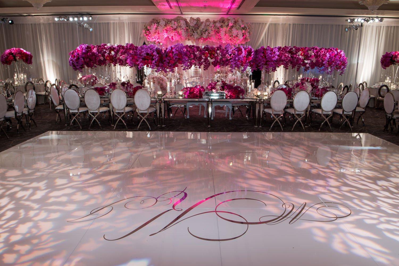 dance floor with monogram lighting