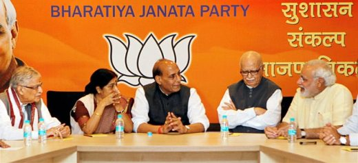 (From left) Murli Manohar Joshi, Sushma Swarah, Rajnath Singh, L K Advani and Narendra Modi