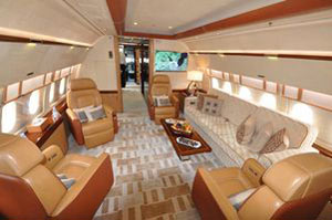 Airbus A-319 luxury jet cabin.