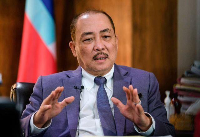 Sabah Chief Minister Datuk Hajiji Noor speaks during an interview with Bernama at his office in Kota Kinabalu ahead of Malaysia Day celebrations September 15, 2021. — Bernama pic