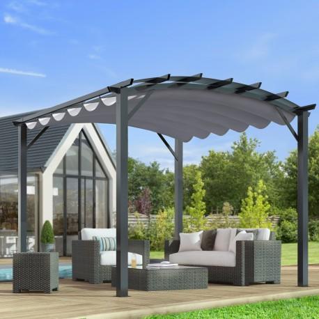 pergola arche aluminium acier gris anthracite 11 22m avec toit en toile polyester 140gr m gris habrita