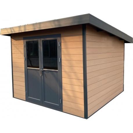 abri de jardin en bois composite 28mm aspect bois vieilli 9m premium toit plat woodlife garden