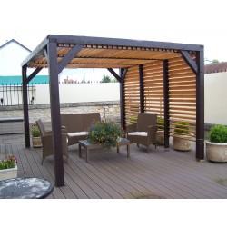 pergola en bois avec ventelles amovibles sur toiture 1 cote 339x312x217cm veneto
