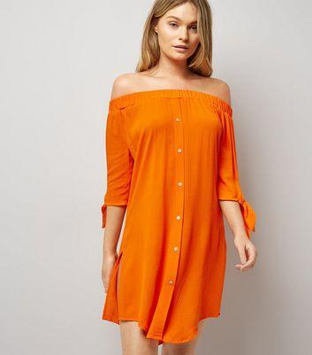 Robe de plage orange à col Bardot