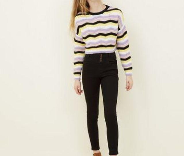 Girls Black High Waist Skinny Jeans