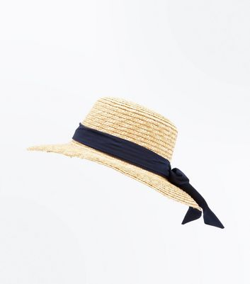 Stone Ribbon Boater Hat