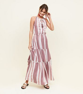 Red Zig Zag Stripe Maxi Dress